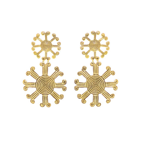 These earrings are a reproduction of pre-colombian jewellery found in the Americas before the Conquistadors arrived. Much of the gold was melted and shipped back to Spain but what little survived can be found in the Museums of Pre-Colombian art in the region. These earrings take on pre-colombian elements and reassemble them into earrings.