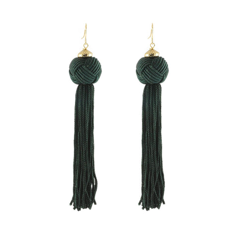 These fun dark green earrings have a knot which cascades into a long tassel.  Great when you want to add some swing to your outfit.