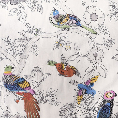 Hand printed white with colourful bird pattern on cotton pyjamas made in india