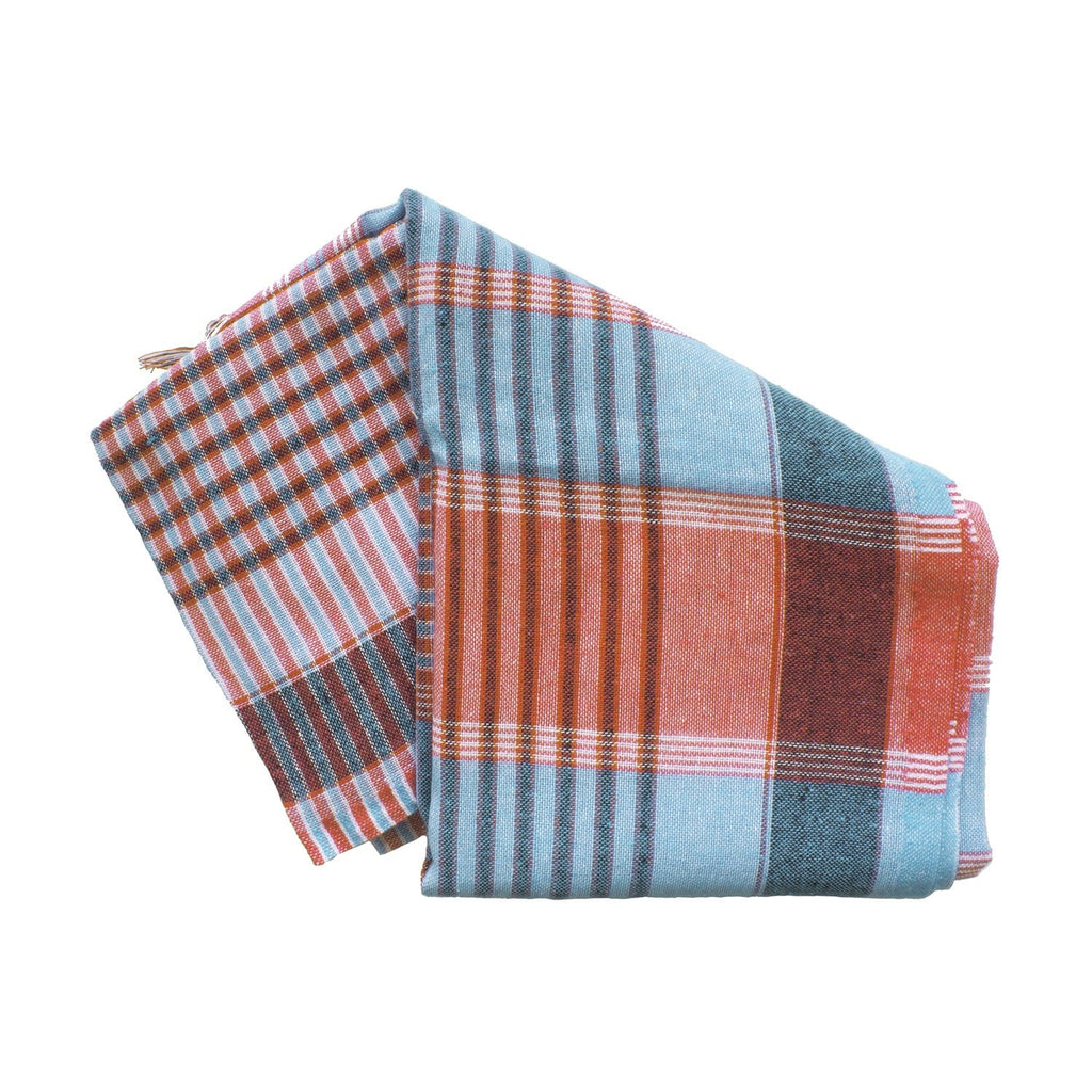 Blue and Orange pestamels are flat woven piece of materials used in Turkish culture as a Hamam towel. They make great beach towels, can be used as carves, or throws or even table runners.