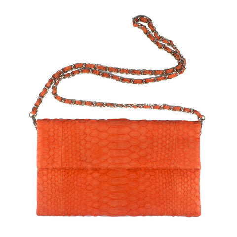 Orange Clutch with Chain