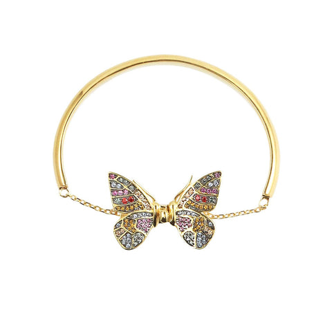 sliver gold plated butterfly with colourful CUBIC ZIRCONIA gems stone from Hong Kong