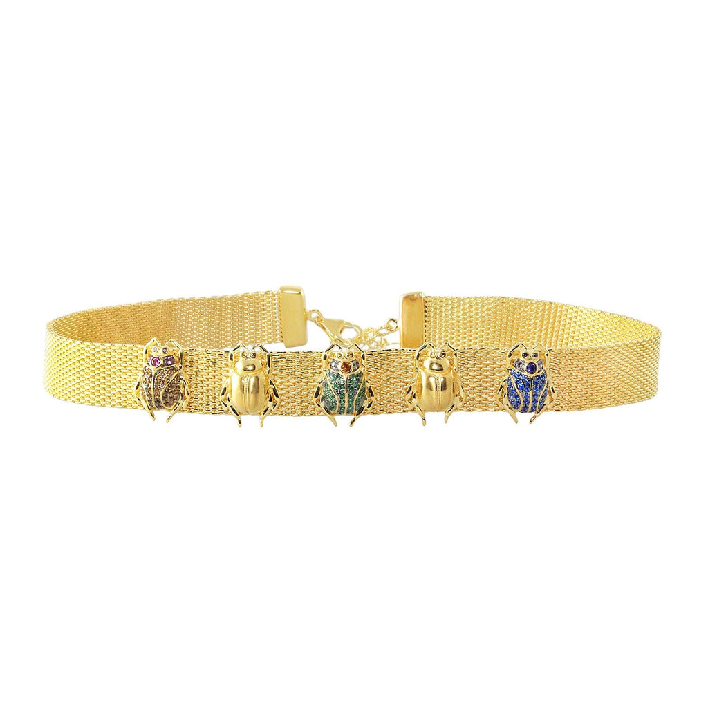 sliver gold plated choker beetles scarab with colourful CUBIC ZIRCONIA gems stone from Hong Kong