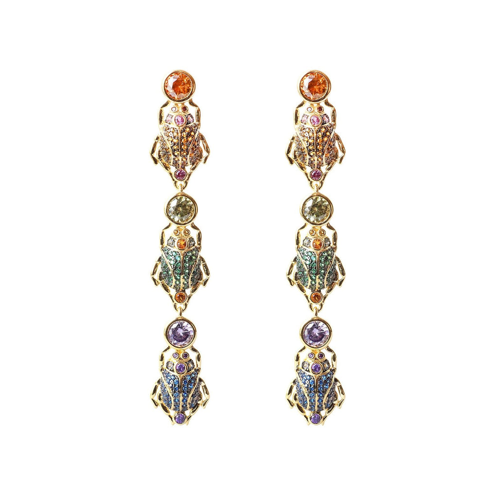 sliver gold plated beetles scarab earrings with colourful CUBIC ZIRCONIA gems stone from Hong Kong