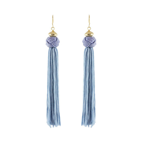 Baby Blue Tassel Earrings