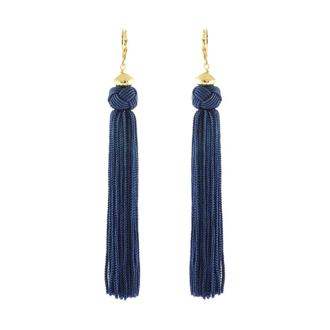 Colourful and fun these blue earrings have a Knot which cascades into a long tassel.  Great when you want to add some colour to your outfit.