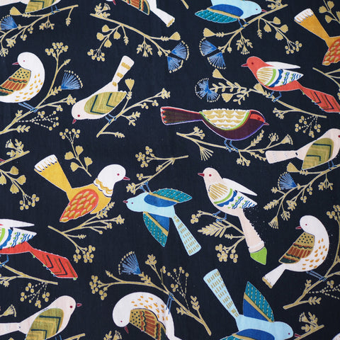 Hand printed blue bird pattern on cotton pyjamas made in india