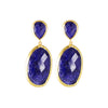 Large sliver gold plated blue Lapis Lazuli earrings, made in india
