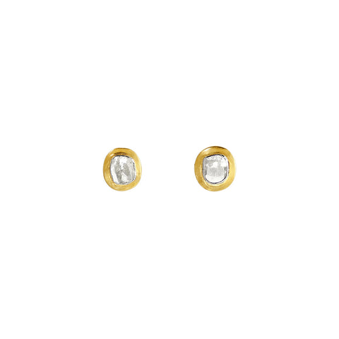 sliver gold plated earrings stud with rose cut diamond made in india