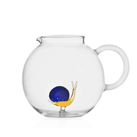 Amber and blue snail glass jar with white handle