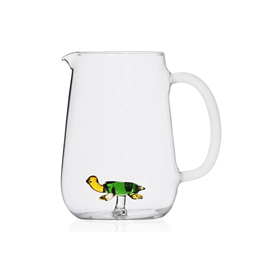 Green turtle glass Jar with white handle