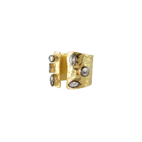 hammered sliver gold plated ring with rose cut old byzantine cubic zircon stones