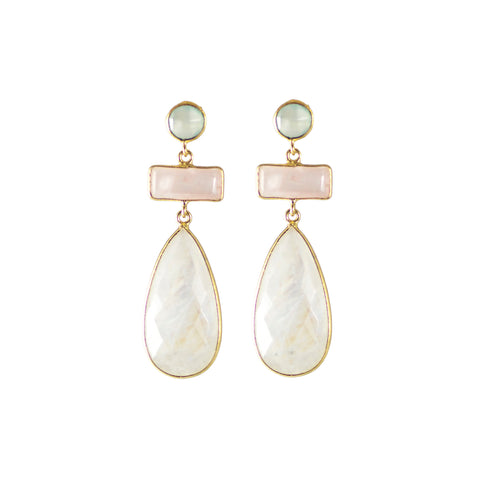 Sliver gold plated earrings with stones chalcedony, rose quartz and labradorite, from india