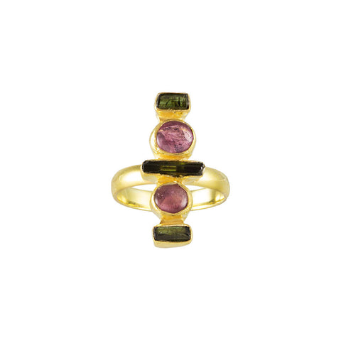 sliver gold plated ring with red green tourmalines from india