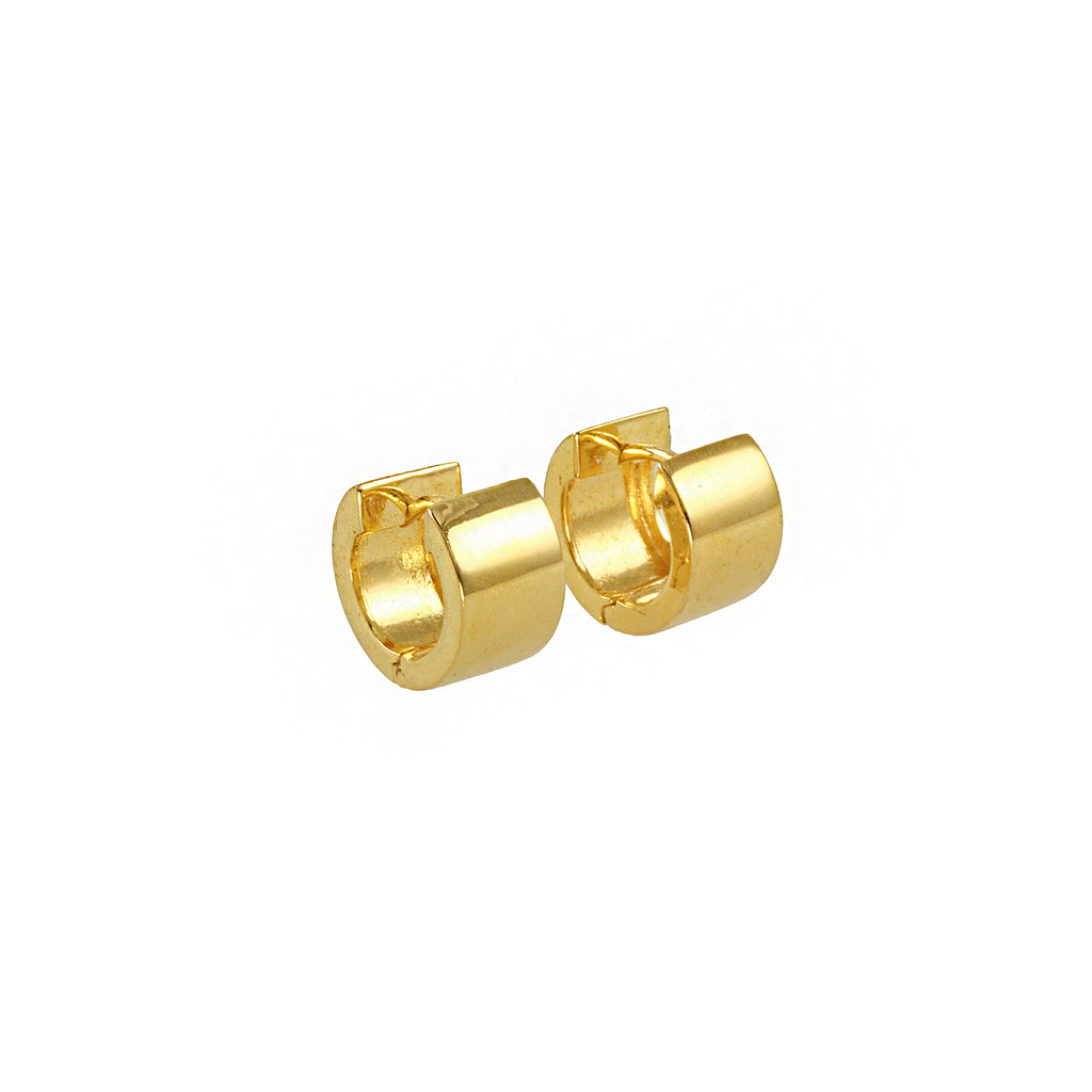 Golden brass earrings hoops from Tay Jewellery with 18 cart gold plated