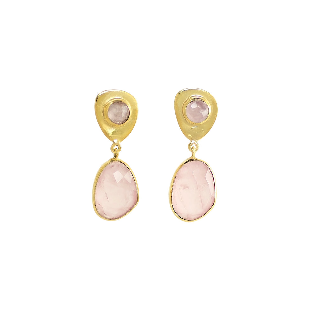 sliver gold plated earrings with pink rose quartz pastel stone made in india