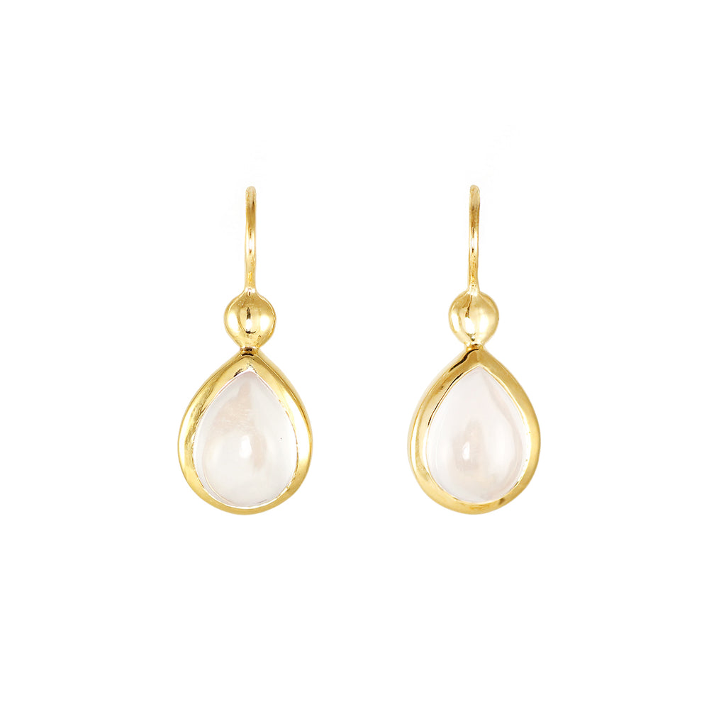 Golden earrings with rock crystal in pear shape, 18 cart gold plated brass from Tay jewellery