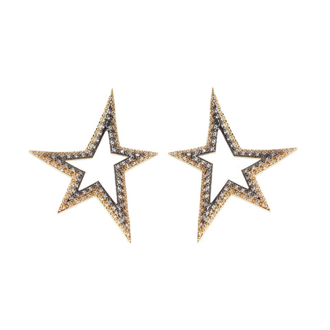 sliver gold plated star earrings with white cubic zircon stone made in turkey