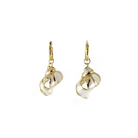 Gold plated white crowy shell with golden hoop earrings from Greece