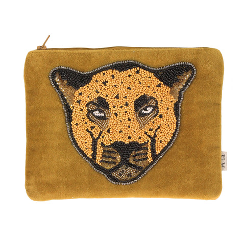 Leopard velvet pouch wallet clutch made of cotton, velvet  and glass beads, made in india