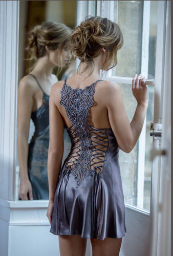 Marjolaine Double Corset Back in slate grey