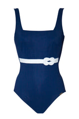 Cruise Blue Maryan Mehlhorn belted swimsuit