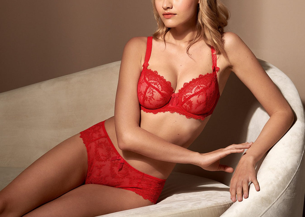 Louise Underwired Low Neck Bra - Rouge
