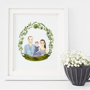 Watercolour Personalised Couple Half Portrait - Nia Tudor Illustration