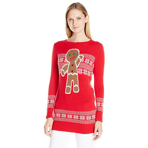 Women's Waving Gingerbread Tunic Ugly Christmas Sweater