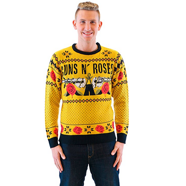Guns N' Roses Patterned Yellow Ugly Christmas Sweater