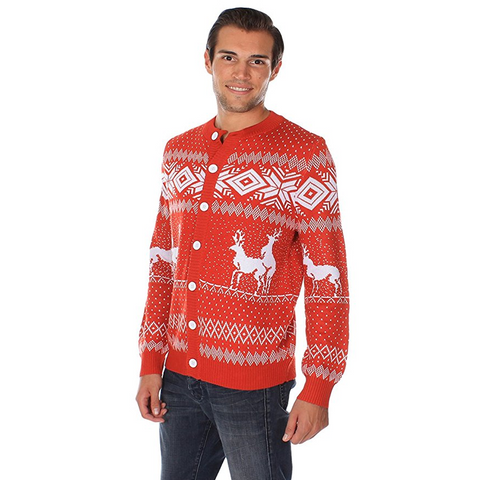 Mounting Reindeer Red Cardigan Christmas Sweater