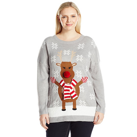 Rudolph the 3D Red Nosed Reindeer Women's Plus Size Christmas Sweater