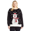 Snowman and 3D Snow Women's Plus Size Christmas Sweater