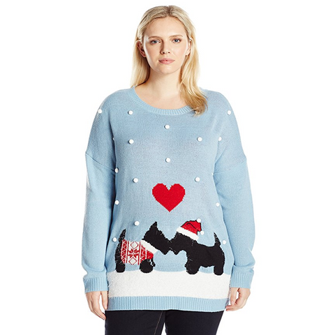Puppies in Love Women's Plus Size Christmas Sweater