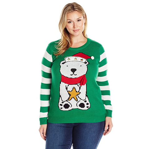 Light Up Star Polar Bear Women's Plus Size Sweater