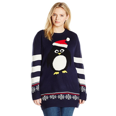 Fuzzy Christmas Penguin Women's Plus Size Tunic Sweater
