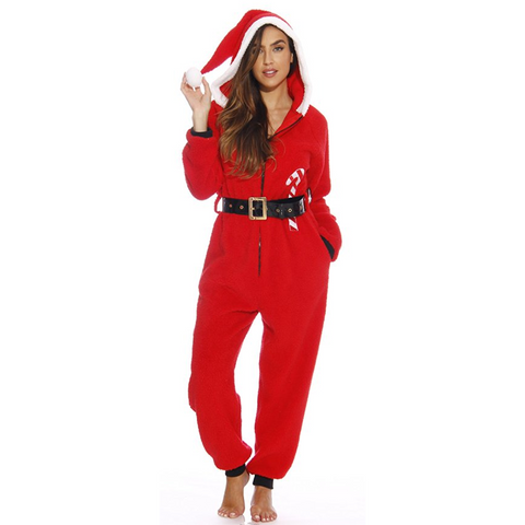 Mrs. Santa Christmas Holiday Onesie Hooded Romper