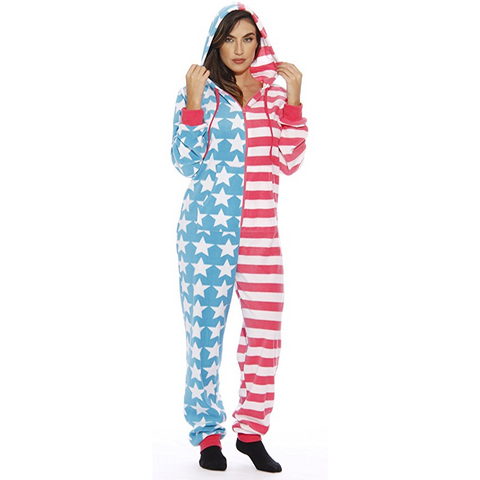 American Flag Onesie Hooded Romper