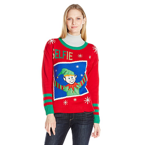 Women's Framed Elf Selfie Photo Ugly Christmas Sweater with Real Jingle Bells