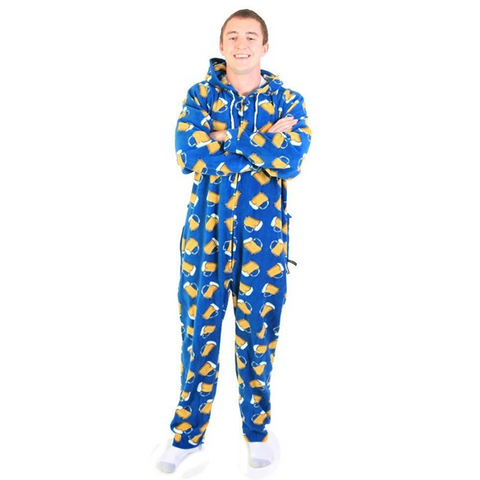 Men's Beer Mug Hooded Onesie Pajamas