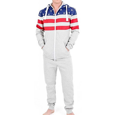 Stars and Stripes Men's Onesie Hooded Pajamas