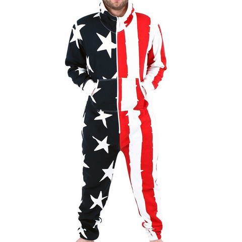 American Flag Men's Onesie Hooded Pajamas