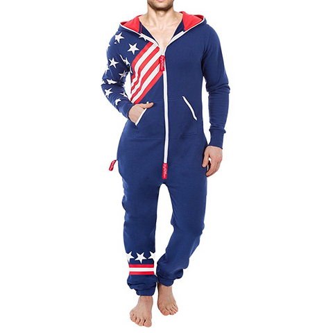 USA Flag Men's Onesie Hooded Pajamas
