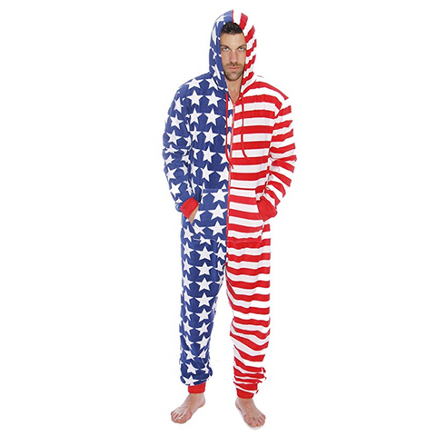 Stars and Stripes Men's Hooded Onesie Costume