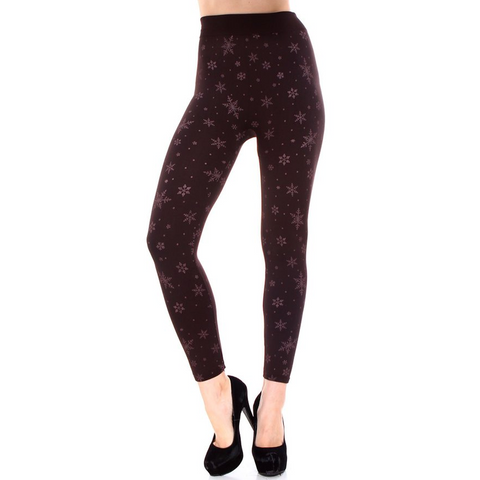 Winter Wonderland Maroon Snowflake Fleece Lined Knit Leggings