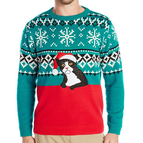 OMG Tuxedo Cat in a Santa Hat UNISEX Sweater