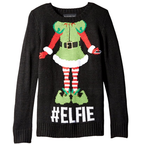 Women's Hashtag Elfie Christmas Selfie Sweater