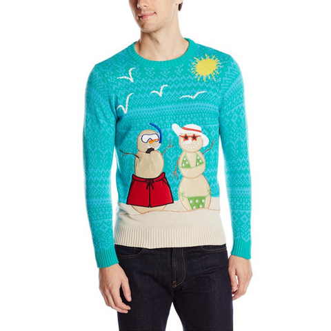 Sandy Snowman Beach Vacation UNISEX Sweater