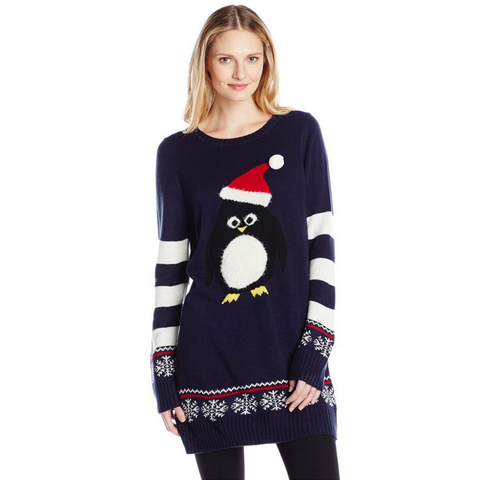 Women's Santa Penguin Tunic Length Snowflake Sweater