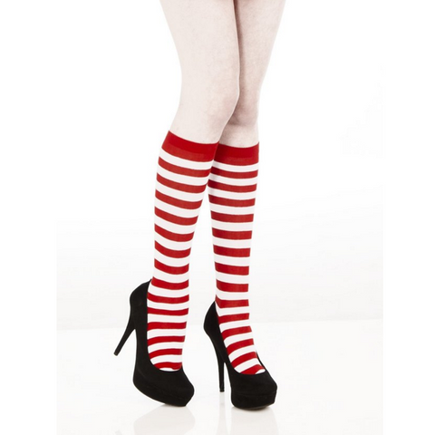 Women's Red and White Stripe Knee High Socks
